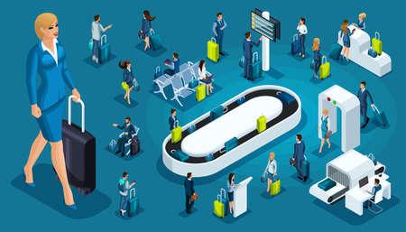 Conjunto isométrico 6, iconos de aeropuerto internacional, pasajeros con equipaje, mujer de grandes negocios en un viaje de negocios, zona de tránsito, líneas aéreas.