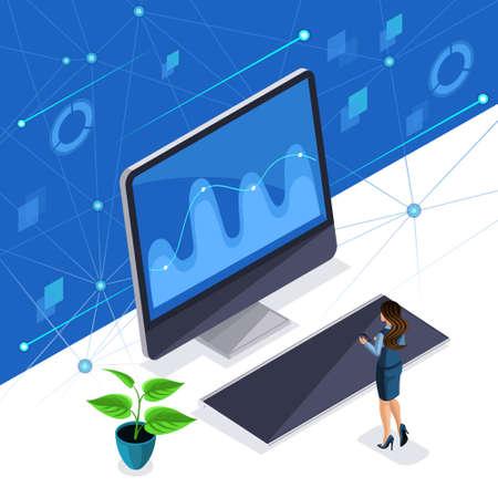 Femme isométrique, femme d'affaires gère un écran virtuel, un écran plasma, une femme intelligente profite de la haute technologie.