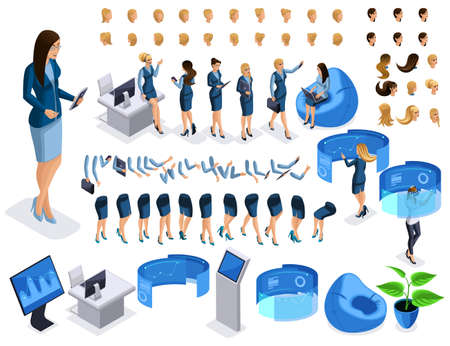 Isometric set 6, business lady with gadgets, create your character, a set of emotions, gestures of hands, feet, hairstyles. Create a beautiful character with gadgets.