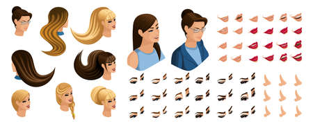 Isometric Create emotions for your character, young girl. Set ? 7 beautiful hairstyles and emotions, sadness, joy, happiness. Different make-up of lips, eyes.