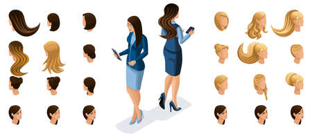 Isometric business women work with gadgets, virtual screen, front view rear view. Create stylish hairstyles for your character set ? 2.