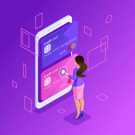 Isometric is a bright concept of managing online credit cards, an online bank account, a Business lady transferring money from card to card using a smartphone.