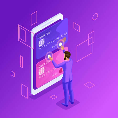 Isometric is a bright concept of managing online credit cards, an online bank account, a business man transferring money from card to card using a smartphone. Illusztráció
