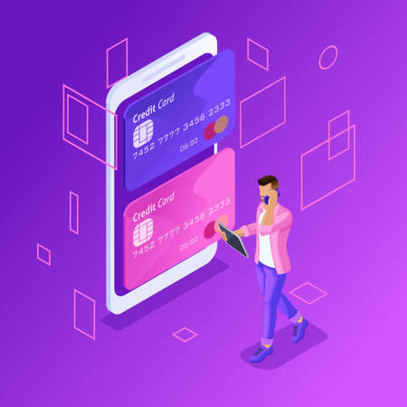 Isometric colorful concept of managing online credit cards, online banking account, young man transferring money from card to card using smartphone.