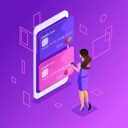 Isometric colorful concept of managing online credit cards, online banking account, business lady transferring money from card to card using smartphone.