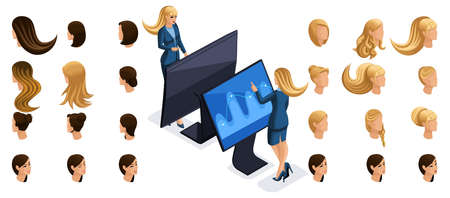 Isometric business women work with gadgets, virtual screen, front view rear view. Create stylish hairstyles for your character set ? 1.