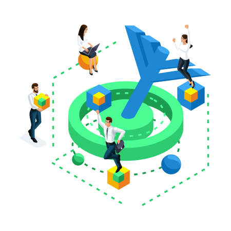 Isometric icon achieving the goal, concept of solving the problem in the brain, mini people are jumping and rejoicing at the achievement of the goal. Illustration
