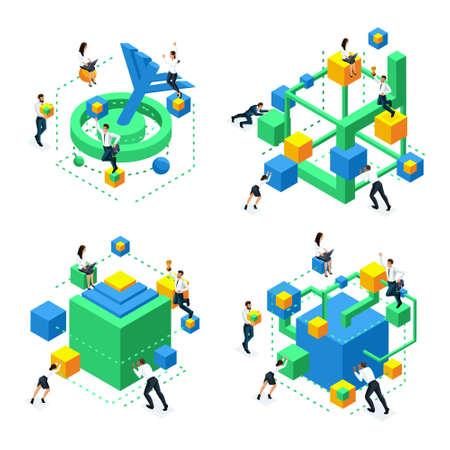 Icone isometriche dello sviluppo del cervello, concetto di creazione di connessioni neurali e miglioramento della funzione cerebrale, concentrazione dell'attenzione, sviluppo del pensiero.