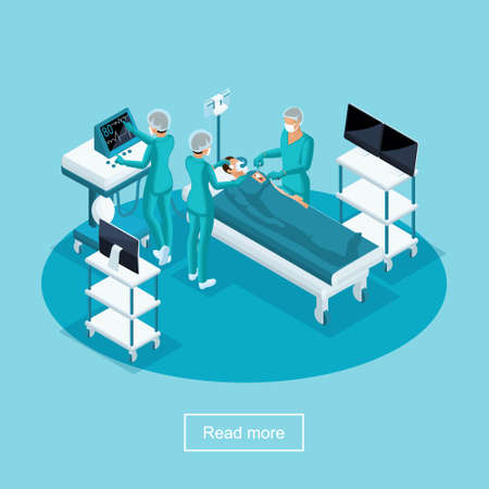 Isometrics Healthcare and Innovative Technologies, Hospital, Surgery, Surgeon Operates Patient, Medical Personnel, Nurse and Doctors. Stock Illustratie