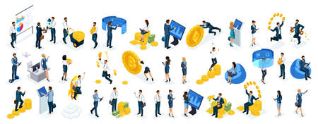 Isometric big set businessmen and business ladies use virtual screens to buy online crypto currency, modern technology, young entrepreneurs.