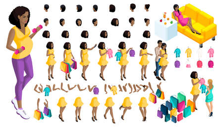 Quality Isometry pregnant African American girl. Set ? 7 of hairstyles and emotions of a girl. Set of hands and feet in motion. Set of babies and clothes, create your own character.