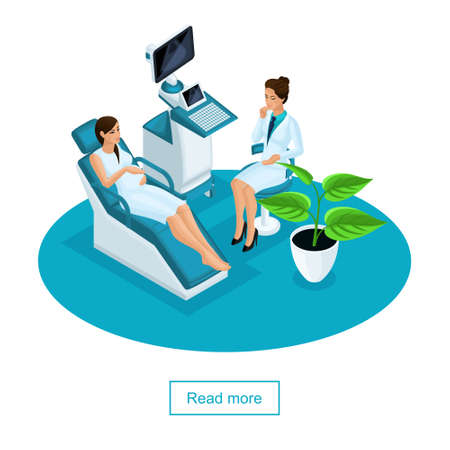 Isometric Ultrasound test. Pregnancy. Gynecologist checking fetal life with scanner. Concept of examination of a pregnant woman in a private clinic