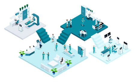 Isometric room of the hospital, Healthcare and innovative technology, medical personnel, patients, examination and diagnosis of the disease, surgery. Vector Illustration