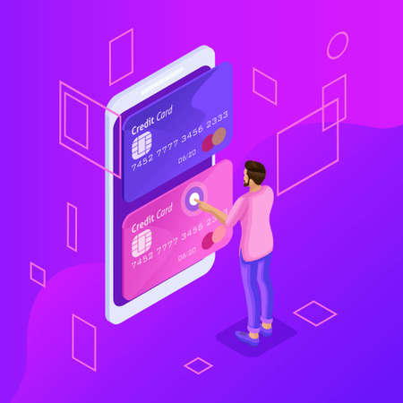 Isometric is a bright concept of managing online credit cards, online banking account, man transferring money from card to card using smartphone.