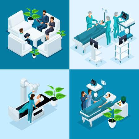 Concept isométrique Hôpital, IRM médicale, salle d'opération avec médecins, processus de fluorographie, cabinet de chirurgien, clinique privée.