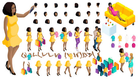 Quality Isometry pregnant African American girl. Set ? 6 of hairstyles and emotions of a girl. Set of hands and feet in motion. Set of babies and clothes, create your own character.