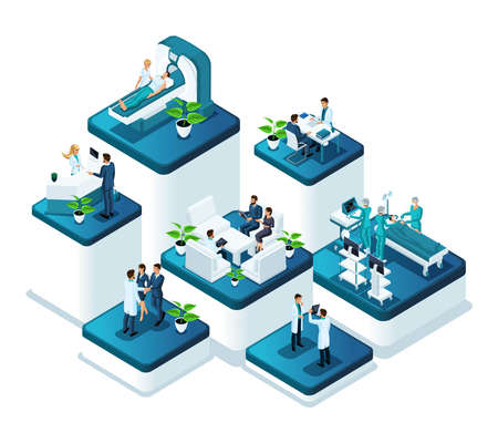 Isometric doctors concept of the work of medical personnel in a hospital. Concept of treatment and conducting surgical operations in the clinic.