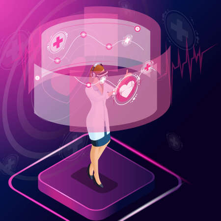 Isometric cardiologist diagnose the disease, prescribes medicine for treatment, monitors the patient's treatment, looks at the tests, works with high technologies. Stock Illustratie