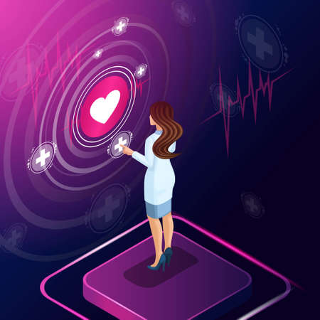 Isometric cardiologist diagnose a disease, prescribed a medicine for treatment, monitors the development of treatment, reviews, work with high tech technologies.
