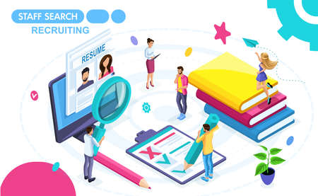 Isometric Concept of viewing a resume in a recruiting agency. Isometric people on the move, view summary. Concepts for web banners and printed materials. Illustration