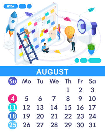Isometric month August from set calendar of 2019. Concept of creating a business idea. Concept creating a business strategy. Isometric people on a white background.