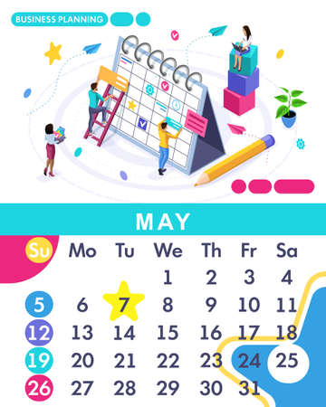 Isometric month May from set calendar of 2019. Business planing. Concept creating a business strategy. Isometric people on a white background.