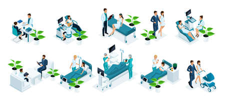 Isometric set concept monitoring a pregnant woman in hospital, examining a patient, ultrasound test, monitoring in a hospital, childbirth, monitoring a mother and newborn.