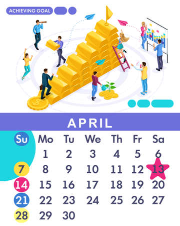 Isometric month April from set calendar of 2019. Business plan to achieve the goal. Concept creating a business strategy. Isometric people on a white background. Illustration