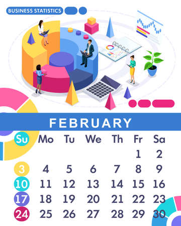 Isometric month February from set calendar of 2019. Financial administration concept. Concept creating a business strategy. Isometric people on a white background.