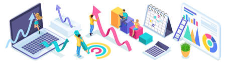 Isometric set of entrepreneurs in the process of work, diagrams, analytics and reports. Icons for creating advertising concepts and web banners. Illustration