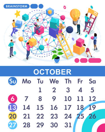 Isometric month October of the main calendar of 2019. The concept of brainstorming, employees develop a business strategy, the idea of development.