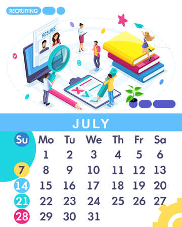 Isometric month July from set calendar of 2019. Staff search, recruiting. Concept creating a business strategy. Isometric people on a white background. Illustration