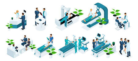 Isometrics set of observation concepts in the hospital, examination of the patient, diagnosis of diseases, surgery, in-patient observation, resuscitation, patient recovery.