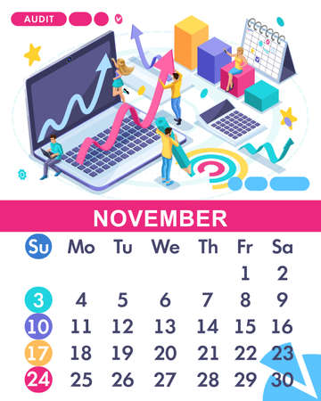 Isometric month November of the main calendar of 2019. The concept of an audit, accountant do business reports analysis.