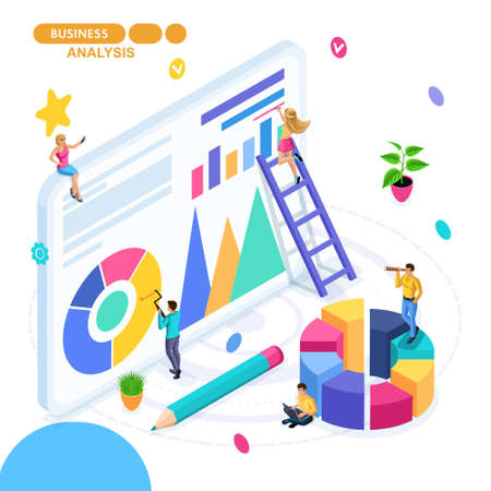Isometric concept of business, teamwork, business analytics, financial reports, financial audit. Young entrepreneurs are developing a start-up.