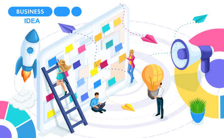 Isometric Concept of developing, creating and implementing a business idea, a startup. Isometric people on the move. Concepts for web banners and printed materials.