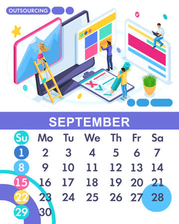 Isometric month September from the main calendar of 2019. The concept of hiring employees for outsourcing. The concept of business in freelancing work. Illustration