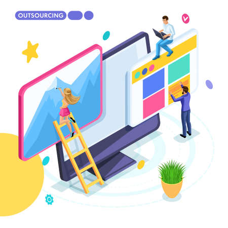 Isometric business concept, outsourcing, remote work, freelancing, collaborating on one project. Young entrepreneurs are developing a start-up. Vettoriali