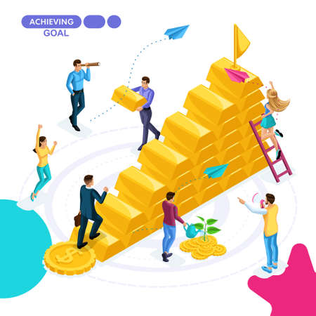 Isometric business concept, project completion, goal achievement, project launch, money, finance. Young entrepreneurs are working on a business strategy. Vettoriali