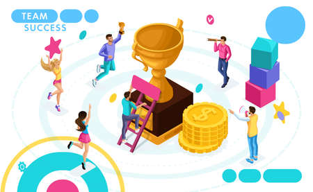 Isometric concept of teamwork, success and achievement of purpose. Entrepreneurs are happy jumping. People in motion. Concepts for web banners and printed materials.