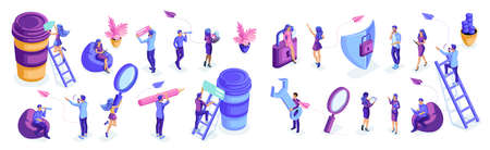 Isometric set of people in motion, work, write, analyze, brainstorm. Isolated characters on a white background. Young people, young entrepreneurs.