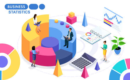 Isometric Concept of the collection and analysis of data on the work of the project. Isometric people on the move. Concepts for web banners and printed materials. Illustration