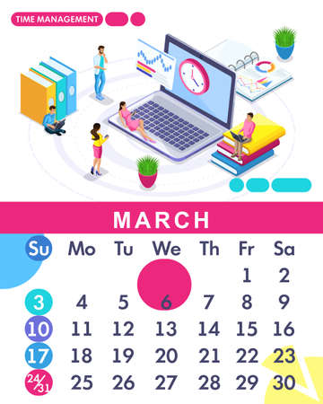 Isometric month March from set calendar of 2019. Time management banner. Concept creating a business strategy. Isometric people on a white background.