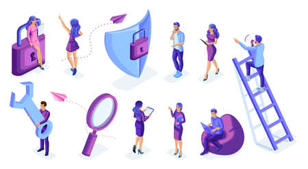 Isometric set of people in motion, work, write analyze. Isolated characters on a white background. Young people, young entrepreneurs.