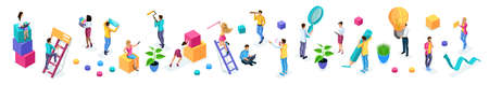 Isometrics set of vibrant business people with icons, young entrepreneurs, quality vector people on isolated background. Vector illustration.
