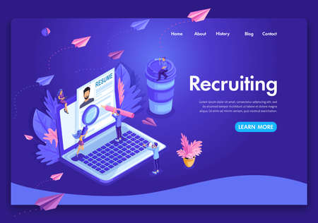 Website template design. Isometric concept Recruiting. Job agency human resources creative find experience. Easy to edit and customize landing page. Ilustração