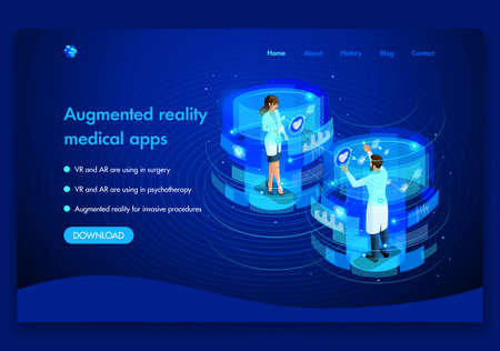 Business website template design. Isometric medical concept of the work of doctors Augmented reality concept. VR and AR are used in surgery. Easy to edit and customize.