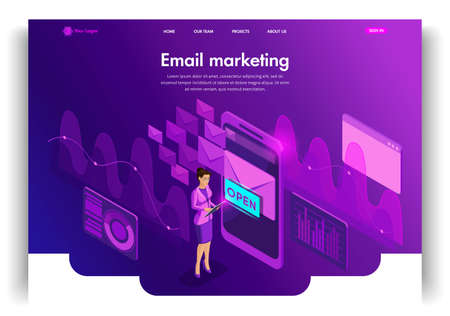 Website template design. Isometric concept Email Inbox Electronic Communication. E-mail marketing, marketing research. Easy to edit and customize landing page. Stock Photo