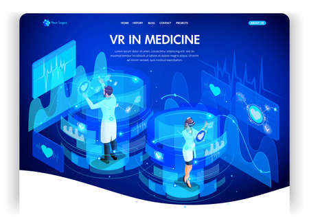 Website template design. Isometric concept augmented reality for medicine, doctors work on virtual screens. Web design landing page. Easy to edit and customize.