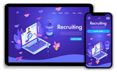Website template design. Isometric concept Recruiting. Job agency human resources creative find experience. Easy to edit and customize landing page, ui ux.